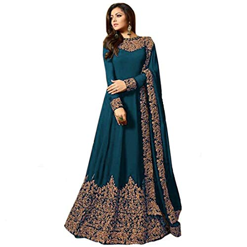 Home Fashion Women Georgette Long Anarkali Salwar Suit/Gown With Dupatta (Rama)