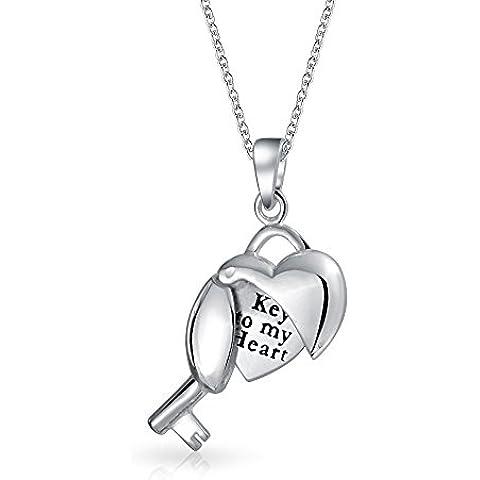 Bling Jewelry Abrir la clave de mi Corazón Colgante Collar de plata esterlina 925 18En grabado gratis
