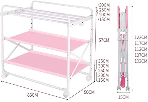 Changing Table Foldable Baby Diaper Changing Table,Movable Baby Changing Station with Safety Strap and Fence Baby Bath Table Dresser Unit Organizer (Color : Pink, Size : B) Changing Table ●Foldable changing table- Easily fold it if you finish all the tasks,With its space saving design, you can store it behind a door, it will make life a little easier for parents. ●Size and Safe and Stable- 80x 50 x 107cm,Suitable for babies weighing less than 25kg,With seat belt,Changing pad has a restraining strap for added safety and is made of easy to clean, soft ●2-in-1 design: Baby changing table can be used as baby massaging table as well. It is designed at the proper height of parent to prevent mom's back aches and pains from kneeling or bending when changing diapers to babies. 2