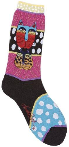 laurel-burch-calzini-con-motivo-di-laurel-burch-gatto-selvatico-a-strisce-multicolori