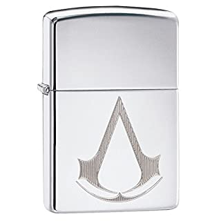 Zippo Unisex's Assassin'S Creed, Crest And Name Windproof Pocket Lighter, High Polished Chrome, One Size
