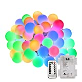LE 50 LED 5m Globe Fairy Light, 8 Modes, Waterproof Battery Powered Starry String Decorative Ball Lights for Outdoor Garden, Christmas, Wedding, Party, Patio, Home, RGBY