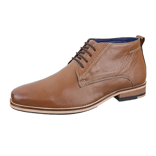 Stiefeletten Herren Leder Schuhe Chelsea Boots Blockabsatz Schnürer Schnürsenkel Ital-Design Boots Camel, Gr 47, 230192-