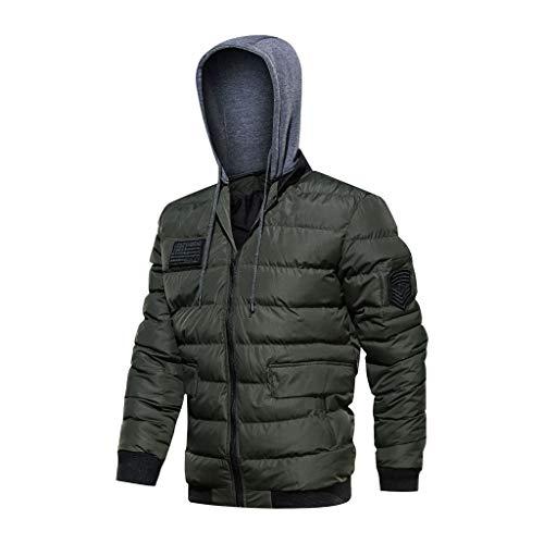 Herren Kordelzug Hoodie Mäntel Voll Reißverschluss Warm Daunenjacke Coat für Männer Winter Outdoor Hoodies Thermoball Jacke mit Tasche Skifahren Mantel Wintermantel