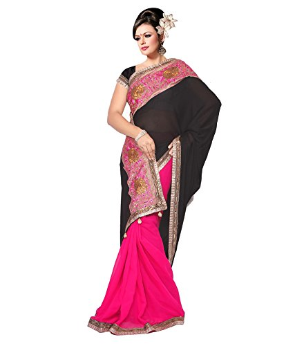 Yuvati Sarees Border Work Saree (9018_Black)