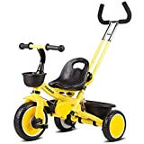 Toy house Kinder-Dreirad Mit Abnehmbaren Schiebegriff 3 Rad Kleinkinder Kinder Fahren Auf Pedal Trike Bike 18 Monate Bis 6 Jahre,Yellow