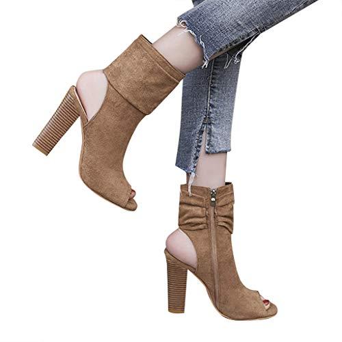 feiXIANG Sandali Estive Scarpe Donna Eleganti con Tacco a Spillo Sexy Tacchi Alti a Punta Chiusa Moda Classico High Heels Shoes da Festa Casual all'Aperto Sandali Tinta Unita