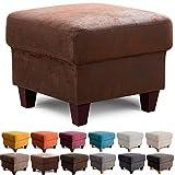 Cavadore Hocker Finja / Polsterhocker im Landhausstil / Fußbank für's Wohnzimmer passend zum Sessel Finja / 59 x 47 x 59 / Lederoptik Braun