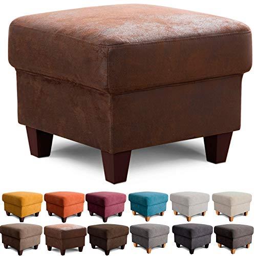 Cavadore Hocker Finja / Polsterhocker im Landhausstil / Fußbank für\'s Wohnzimmer passend zum Sessel Finja / 59 x 47 x 59 / Lederoptik Braun