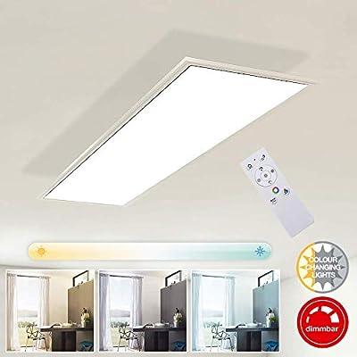 Briloner Leuchten Pannello LED Rettangolare Piatto a soffitto – Dimmerabile, 23 Watt, 2200 Lumen, Regolazione della Temperatura di Colore con telecoma W, Bianco, 1.000x250x48mm (LxBxH)