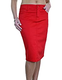 ICE (2516) Jupe en Jeans Extensible Brillant Style Chinos pour Grande Taille