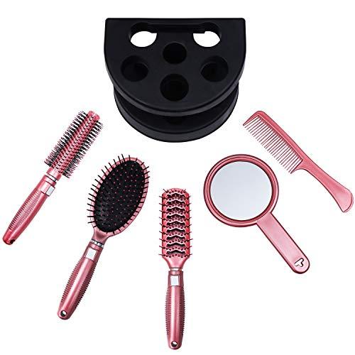 Haarbürsten Set (5pcs) - Professionelles Haar Kamm, Haarpflege Massage Pinsel mit Spiegel und Halter