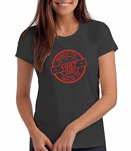 """Geschenk T Shirt zum 30. Geburtstag, Damen: """"Made In 1987"""" Anthrazitgrau"""