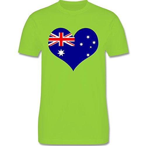 Länder - Herz Australien - Herren Premium T-Shirt Hellgrün