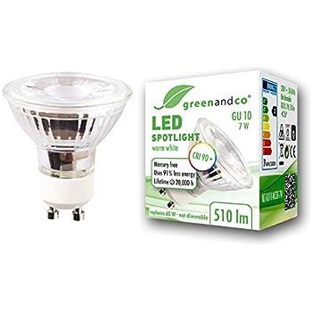 Spot LED greenandco® IRC90+ GU10 7W (corresponde a 60W) 510lm 3000K (blanco cálido) SMD LED 36° 230V AC, sin parpadeo, no regulable