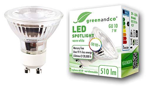 Spot LED greenandco® IRC90+ GU10 7W (corresponde a 60W) 510lm 3000K (blanco...