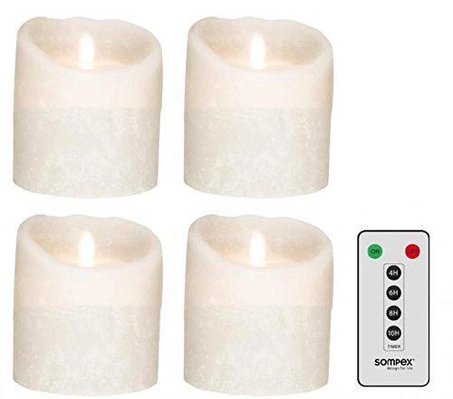 Juego de 4SOMPEX 10cm blanco Frost velas LED de cera con mando a distancia, corona de Adviento de velas