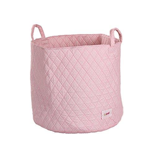 Minene 1534 Aufbewahrungskorb, groß, rosa mit weißen Punkten