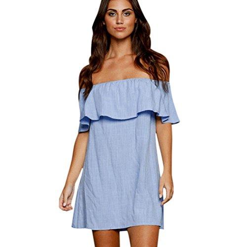 Longra Damen T-Shirt Sommer weg von der Schulter Volant kurze Ärmel Minikleider (S, Blau) (Schulter Tasche Unterschrift)