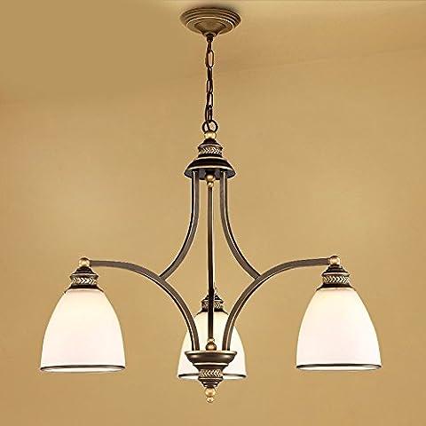 LKMNJ Style européen Industrial Air Sépia le lustre Lustre Accueil Le Village d'Art de fer d'éclairage Lampe verre,3Tête en