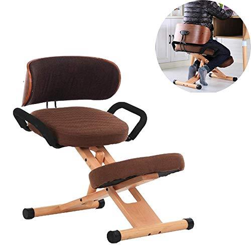 JUN GAUNG Kniestuhl Ergonomische Körperhaltung Schreibtischhocker für den Rücken Verstellbarer Computertischstuhl mit Rückenlehne und Griffen,Braun