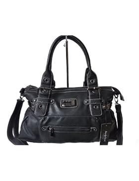 JENNIFER JONES 3957 moderne Damen Handtasche (schwarz)