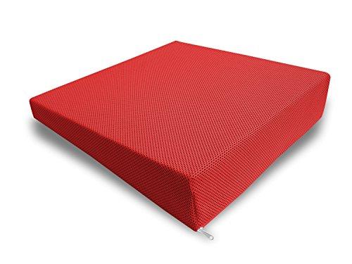 Cuscino per seduta e per la schiena in 100% Memory Foam da Viaggio, per auto e seduta ufficio Sfoderabile Rosso