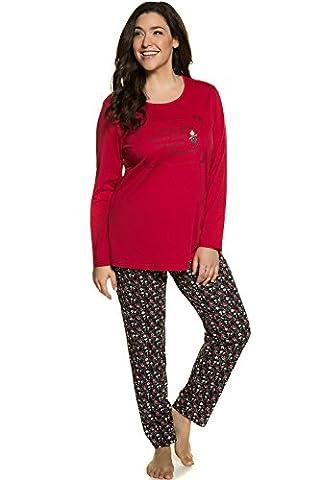Ulla Popken Femme Grandes tailles   Ensemble de Pyjama Ensemble Femme Vêtement de Nuit Lingerie   rouge 52/54 713278 51-50+