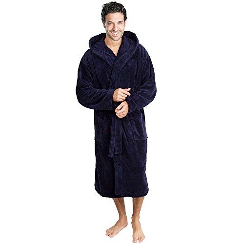 Accappatoio con cappuccio di colore blue navy in morbido cotone e vari abiti da bagno firmati Terry. Navy Large