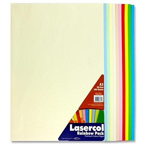 Premier Stationery Lasercol A3 80 gsm Paper - Pastel Rainbow (Pack of 100 Sheets) Test
