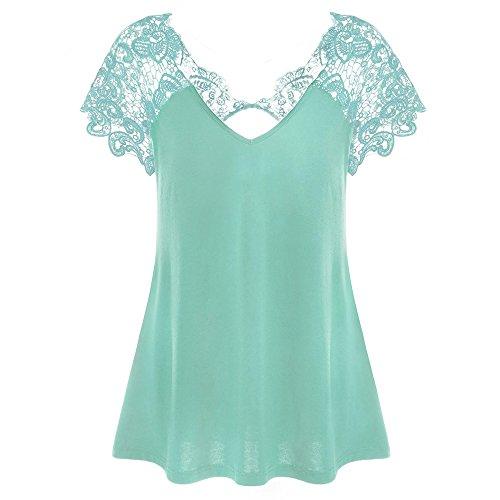 DAY.LIN Kleidung Damen Damen Mode V-Ausschnitt Übergröße Spitze Kurzarm Trim Cutwork T-Shirt Oberteile Spitze Kurzarm-V-Ausschnitt oben (Himmelblau, 4XL)