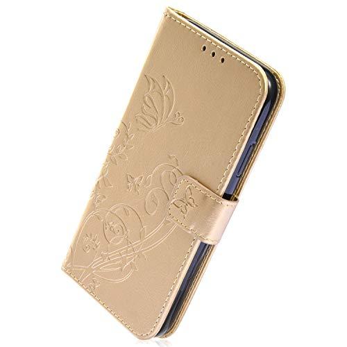 Herbests Kompatibel mit Huawei P20 Lite Ledertasche Handyhülle Schmetterling Blumen Muster Leder Hülle Flip Wallet Case Cover Leder Schutzhülle Handy Tasche im Bookstyle,Gold