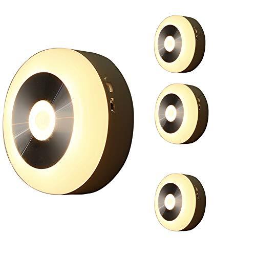 RQINW Einbauleuchte, LED-Nachtlicht, Unterbaubeleuchtung, Laden über USB, Wandnachtlampe Badezimmer, Küche, Flur, Treppe (warmes weißes Licht) 4er Pack