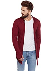 Chill Winston Maroon Color Cotton Blend Hooded Cardigan For Men