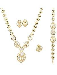 f3c9f26b367f Para pulsera YAZILIND 4 piezas chapado en oro de joyería sintética Pearl  pendientes o collares de