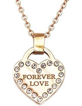 findout  ladies14K rosé vergoldet Titan Stahl liebe dich für immer Zirkonia-Herz Halskette (f1726)