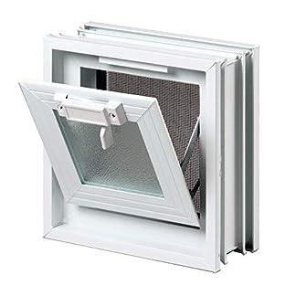 Ventana practicable: para el montaje en la pared de bloques de vidrio – 189x189mm, en lugar de 1 bloque de cristal 19x19x8 cm