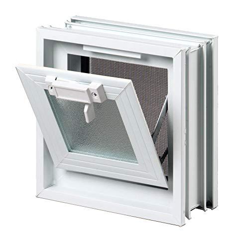 FUCHS Lüftungsfenster anstatt 1 Glasstein im Format 19x19x8 cm - mit Fliegengitter (Sauna Fenster)