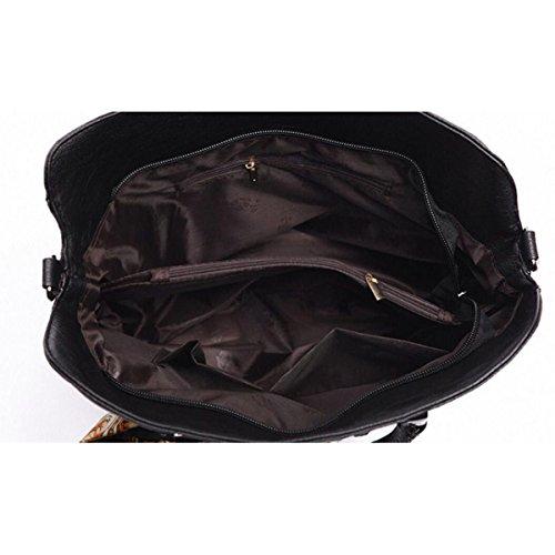 Schalweben Art Und Weise Damen PU-Leder Handtasche + Schulterbeutel + Handtasche Dreiteilig Winered