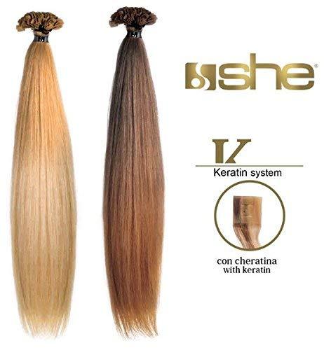 10 ciocche extension capelli veri alla cheratina 55/60 cm shatush 100% naturali she original