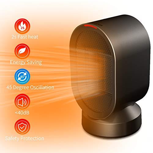 Termoventilatore elettrico, senders termoventilatore ceramico 600w con protezione da surriscaldamento e ribaltamento riscaldatore stufa portatile oscillazione automatica per bagno/stanza/ufficio