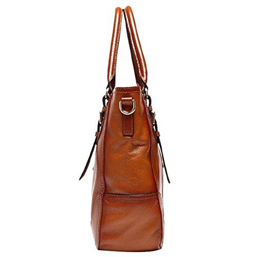 Hermiona Women's Vintage Genuine Soft Leather Shoulder Handbag Red brown