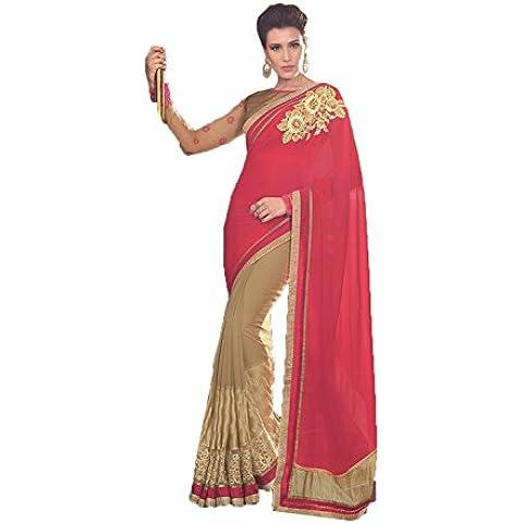 DaFacioun Indian Women Designer Party wear Red and Beige Color Saree Sari R-13023
