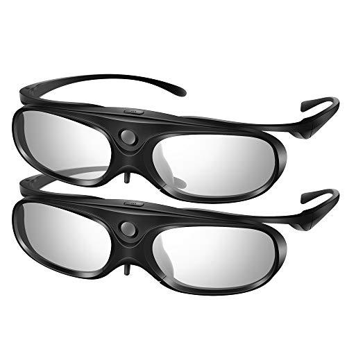 Elikliv 3D Brille Active Shutter Glasses EK30 DLP-Link mit Abnehmbare Rahmenkonstruktion Design, Magnetisches Gedächtnis Nasenpolster Für Optoma BenQ Sharp Acer Samsung Projektor (2Pack) - Projektor 3d Samsung