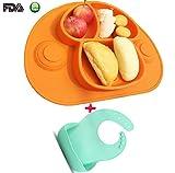 Kids Tischset & Saugplatte mit Divisionen. Kein Durcheinander, Kleinkind und Baby, Beste für Hochstuhl + ein Silikon-Babylätzchen(Orange)