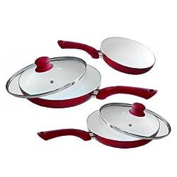 Löwenthal 5-teiliges Keramik Pfannenset in verschiedenen Farben (Rot)
