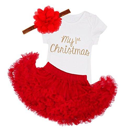 YiZYiF 3PCS Baby Mädchen Weihnachten Bekleidung Set ' My 1st Christmas ' Top Strampler + Tütü Kleid mit Stirnband Weihnachtskostüm, Rot, 12 Monate (Mesh Geraffte Top Kleid)