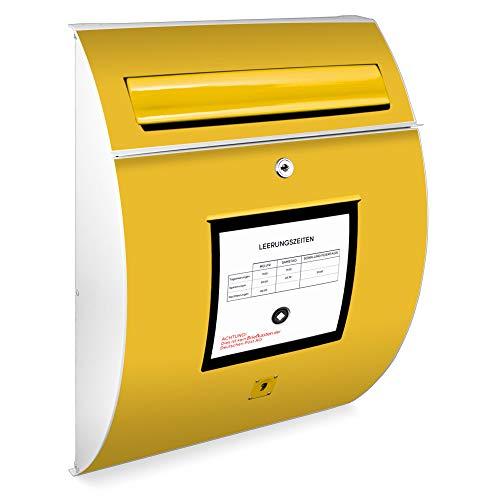 Burg Wächter Design Briefkasten | Modell Riviera 46cmx33,5cmx13cm groß | verzinkter Stahl Weiß | Postkasten mit Öffnungsstopp, großer A4 Einwurf, Zylinderschloss, 2 Schlüssel | Motiv Briefkasten Gelb