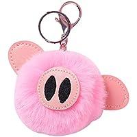 06fd331e7d0b8 Amosfun Schwein Plüsch Schlüsselanhänger Bommel Taschenanhänger  Schlüsselbund Anhänger für Handtasche Schlüssel Auto (Rosa)