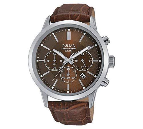 Pulsar Pt3739X 1pour homme Marron Sangle montre chronographe